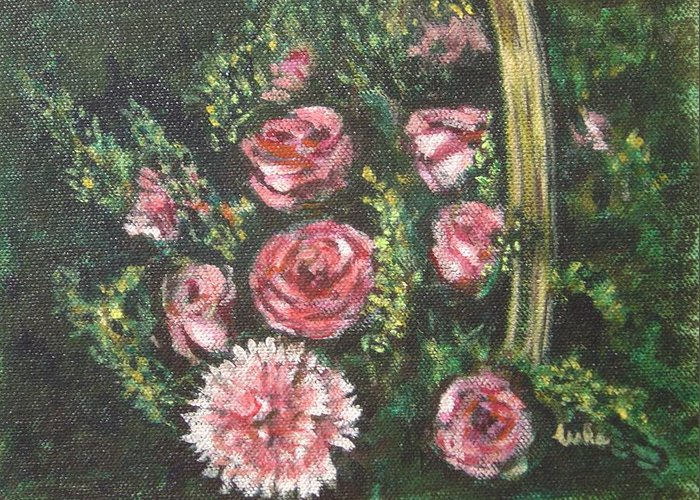 Basket Greeting Card featuring the painting Basket Of Pink Flowers by Usha Shantharam