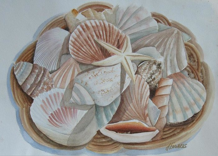 Basket Greeting Card featuring the painting Basket Of Shells by Jo Edwards