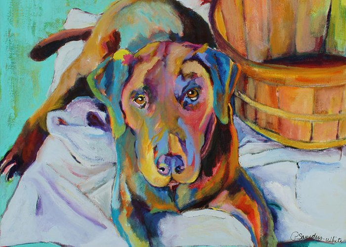 Chocolate Lab Greeting Card featuring the painting Basket Retriever by Pat Saunders-White