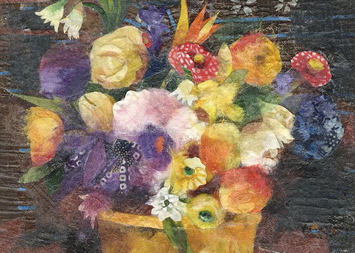Limited Edition Prints Greeting Card featuring the painting Basket with Flowers by Nira Schwartz