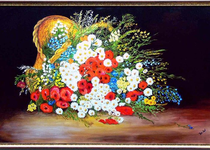 Summer Greeting Card featuring the painting Basket With Summer Flowers by Helmut Rottler