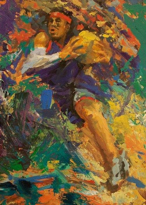 Basketball Greeting Card featuring the painting Basketball Ai by Tom Forgione
