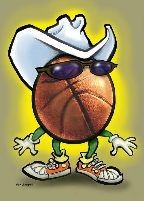 Basketball Greeting Card featuring the digital art Basketball Cowboy by Kevin Middleton