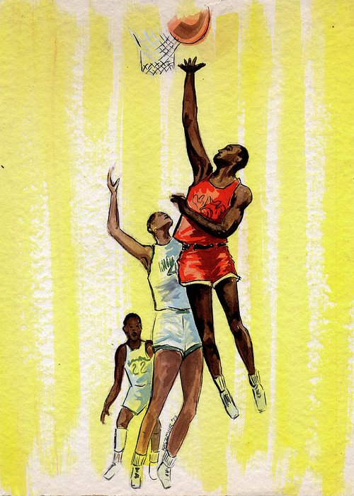 Basketball Players Greeting Card featuring the painting Basketball by Olga Kaczmar