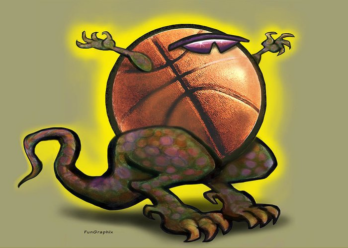 Basketball Greeting Card featuring the digital art Basketball Saurus Rex by Kevin Middleton
