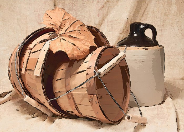 Basket Greeting Card featuring the photograph Baskets With Crock I by Tom Mc Nemar
