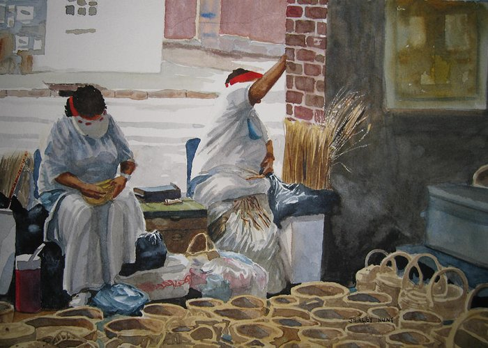Market Street Greeting Card featuring the painting Basketweavers by Shirley Braithwaite Hunt