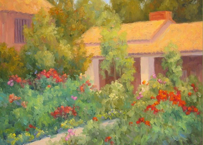 Garden Greeting Card featuring the painting Basking In Sunshine by Bunny Oliver