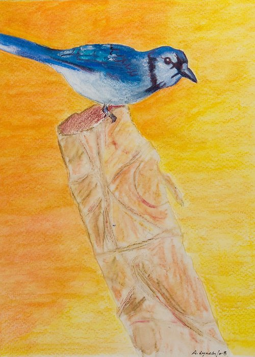 Blue Jays Greeting Card featuring the painting Basking In The Sunset - My Stump by Alison Lynch