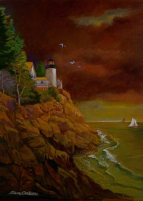 Light House Greeting Card featuring the painting Bass Harbor Light Mt Desert Maine by Alan Carlson