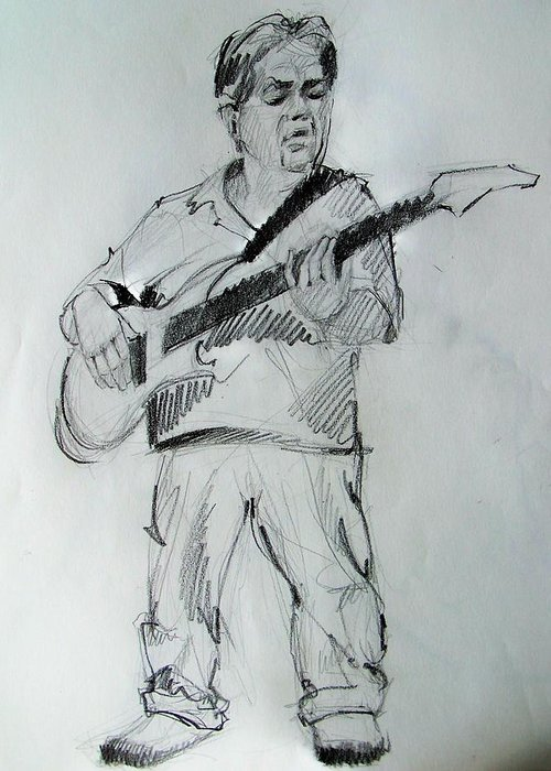 Musician Greeting Card featuring the drawing Bass Player Keeps The Path Clear by Charles Peck