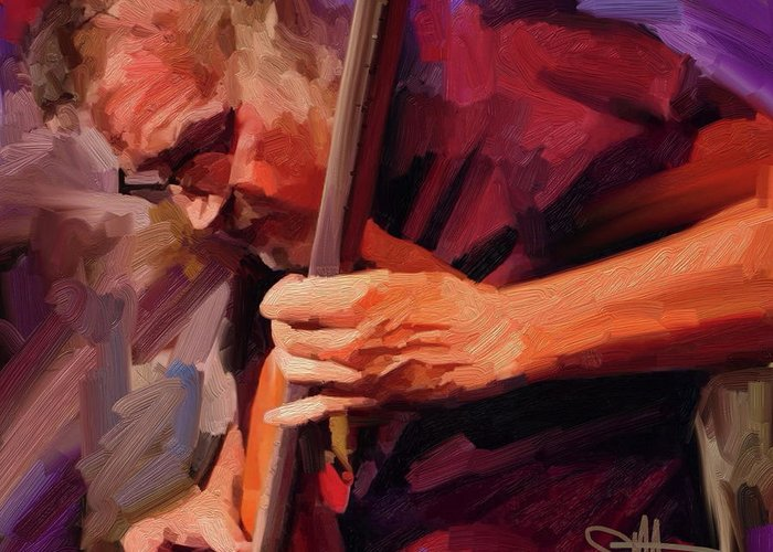 Bass Player Greeting Card featuring the digital art Bass Player by Scott Waters