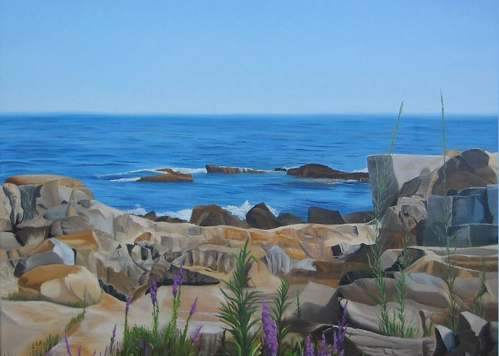Seascape Greeting Card featuring the painting Bass Rocks Gloucester by Lea Novak