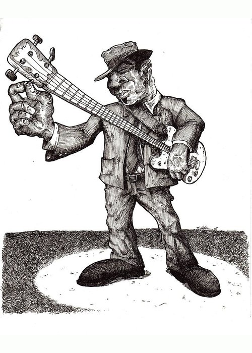Blues Greeting Card featuring the drawing Bass by Tobey Anderson