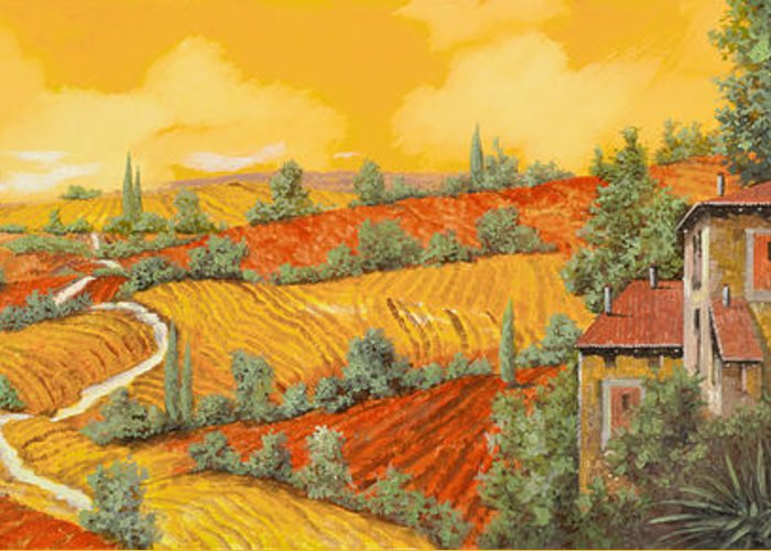 Tuscany Greeting Card featuring the painting Bassa Toscana by Guido Borelli