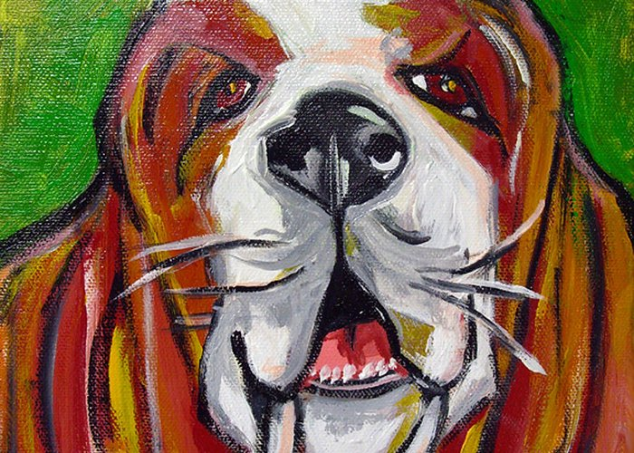 Basset Hound Greeting Card featuring the painting Basset Hound by Ilene Richard