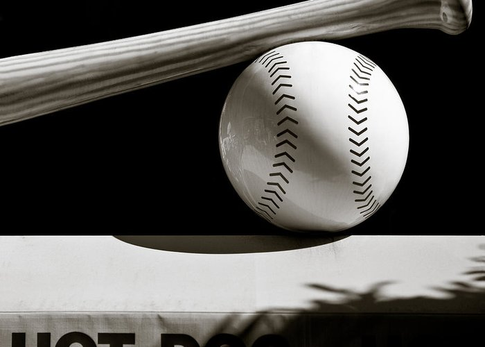 Baseball Greeting Card featuring the photograph Bat And Ball by Dave Bowman
