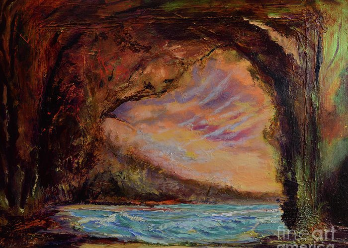 Art Paintings Greeting Card featuring the painting Bat Cave St. Philip Barbados by Julianne Felton