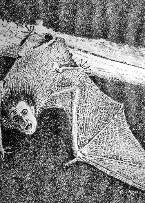 Bat Greeting Card featuring the drawing Bat Man by Arline Wagner