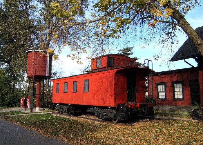 Batavia Depot Museum Caboose Greeting Card featuring the photograph Batavia Depot Caboose by Ely Arsha