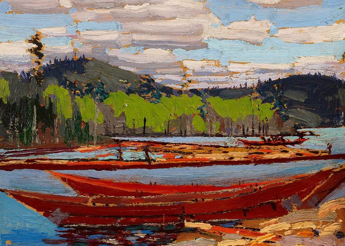 20th Century Art Greeting Card featuring the painting Bateaux, 1916. by Tom Thomson