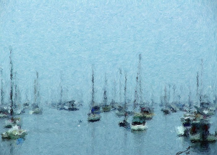 Sail Boats Marblehead Mass Harbor Sailing Anchored Bay Sea Greeting Card featuring the painting Bateaux Au Repos by Eddie Durrett