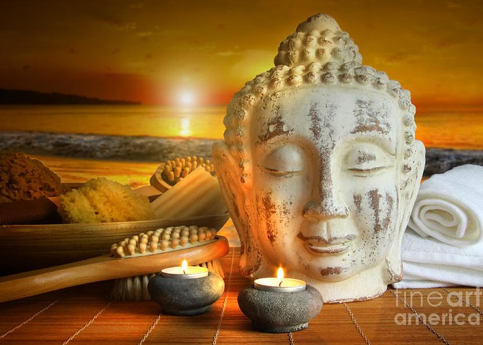 Aromatherapy Greeting Card featuring the photograph Bath Accessories With Buddha Statue At Sunset by Sandra Cunningham