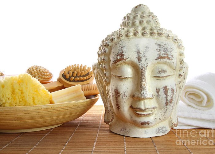 Accessory Greeting Card featuring the photograph Bath Accessories With Buddha Statue by Sandra Cunningham