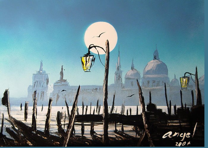 Venice At Night Greeting Card featuring the painting Bath Of Light Venice by Angel Ortiz