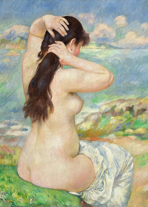 Bather Arranging Her Hair Greeting Card featuring the painting Bather Arranging Her Hair by Pierre Auguste Renoir