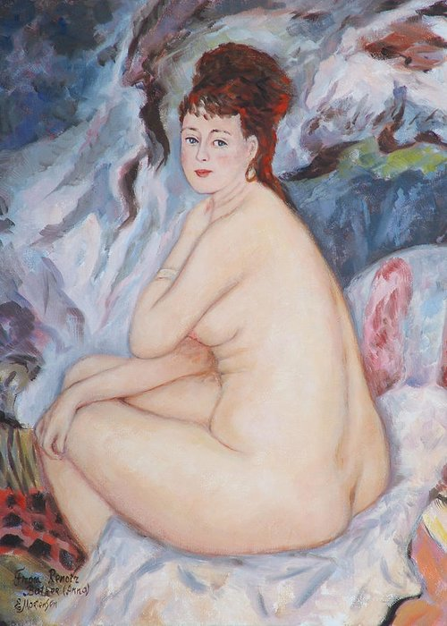 Portrait Greeting Card featuring the painting Bather My Reproduction Of Renoirs Work by Ekaterina Mortensen