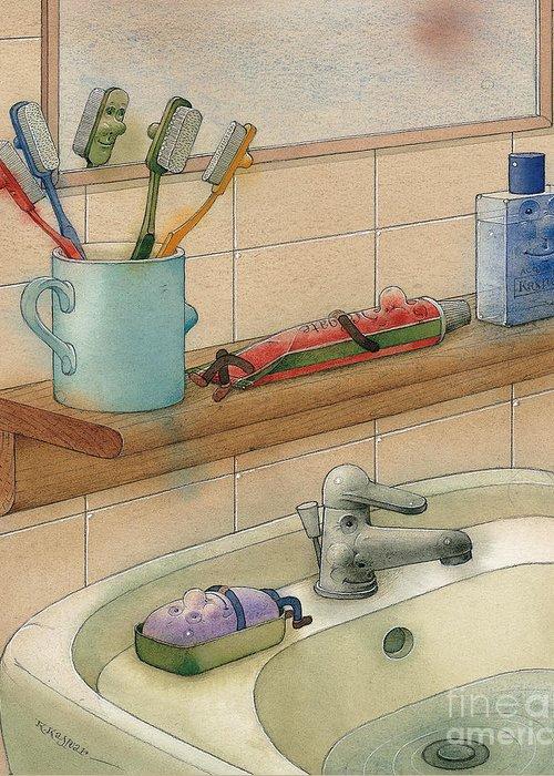 Bathroom Bath White Water Greeting Card featuring the painting Bathroom by Kestutis Kasparavicius