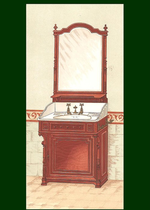 Bathroom Greeting Card featuring the mixed media Bathroom Picture Wash Stand One by Eric Kempson
