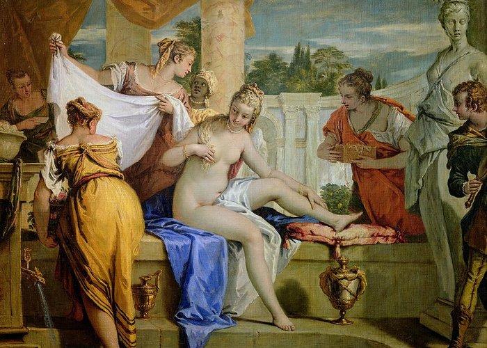 Bathsheba Greeting Card featuring the painting Bathsheba Bathing by Sebastiano Ricci