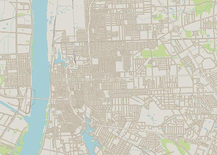 Baton Rouge Louisiana Us City Street Map Greeting Card