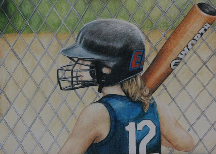 Softball Greeting Card featuring the painting Batter Up by Charlotte Yealey