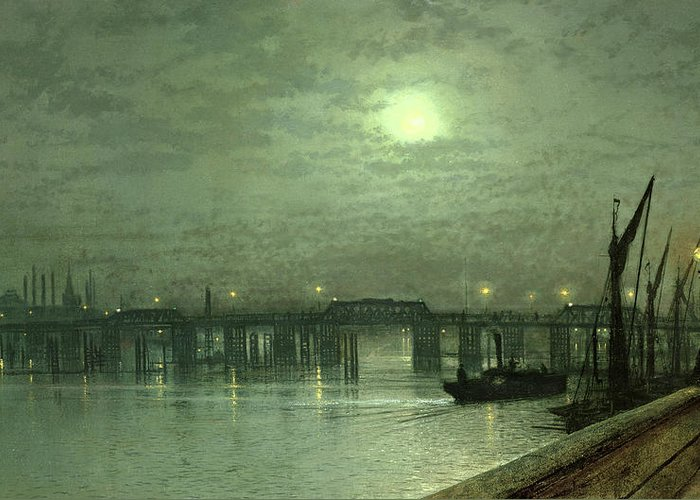 Nocturne; Night; Moon; Moonlit; River Thames; Chelsea; Boat; Steamboat Greeting Card featuring the painting Battersea Bridge By Moonlight by John Atkinson Grimshaw
