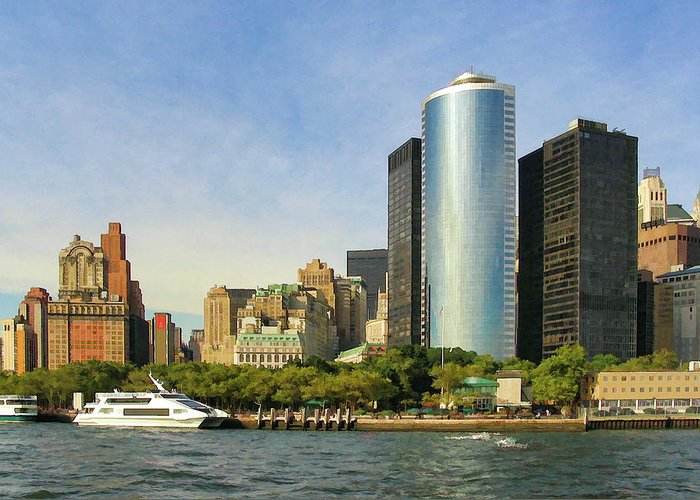 New York City Greeting Card featuring the photograph Battery Park by Dave Thompsen