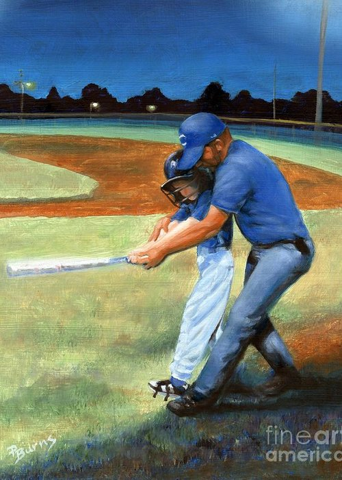 Little League Greeting Card featuring the painting Batting Coach by Pat Burns