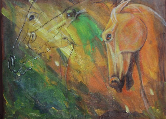 Horses Greeting Card featuring the painting Battle Fury by Pixie Glore