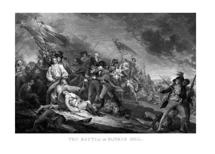 Revolutionary War Greeting Card featuring the mixed media Battle Of Bunker Hill by War Is Hell Store