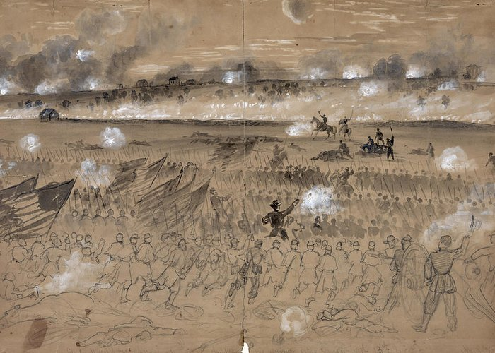 1862 Greeting Card featuring the photograph Battle Of Fredericksburg by Granger