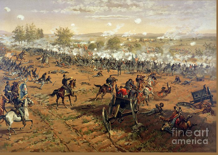Battle Of Gettysburg Greeting Card featuring the painting Battle Of Gettysburg by Thure de Thulstrup