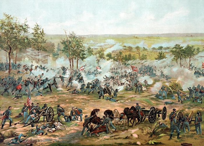 Gettysburg Greeting Card featuring the painting Battle Of Gettysburg by War Is Hell Store