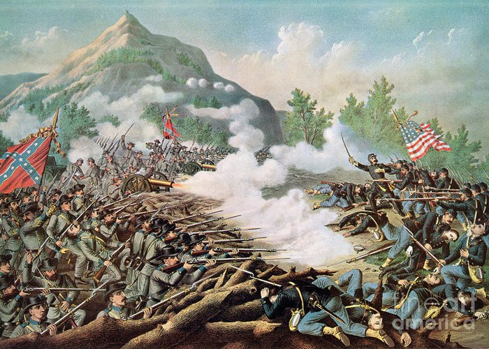 Battle Of Kenesaw Mountain Greeting Card featuring the painting Battle Of Kenesaw Mountain Georgia 27th June 1864 by American School