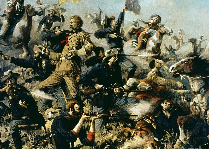 Battle Of Little Bighorn Greeting Card featuring the painting Battle Of Little Bighorn by Edgar Samuel Paxson
