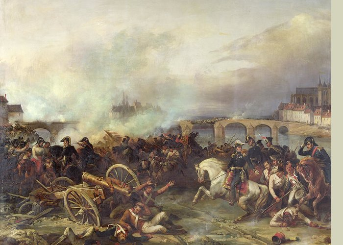 Battle Greeting Card featuring the painting Battle Of Montereau by Jean Charles Langlois
