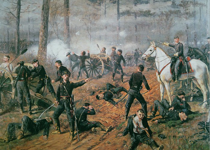 Captain Hickenlooper's Battery In The Hornet's Nest At The Battle Of Shiloh Greeting Card featuring the painting Battle Of Shiloh by T C Lindsay