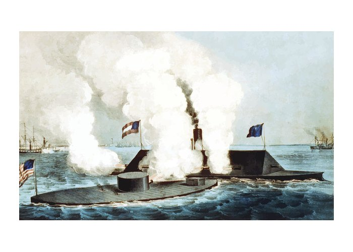 Monitor Greeting Card featuring the painting Battle Of The Monitor And Merrimack by War Is Hell Store