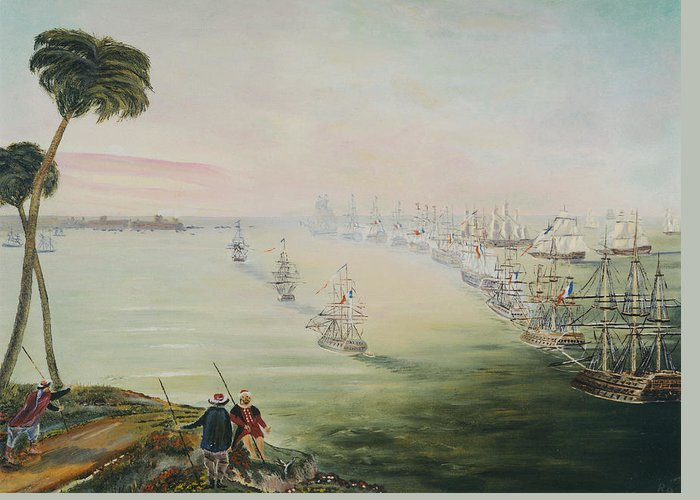 Sea Battle Greeting Card featuring the painting Battle Of The Nile by Richard Barham